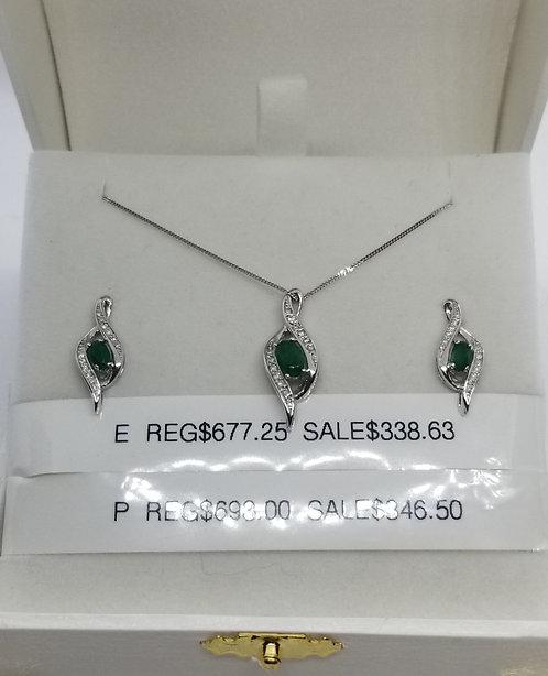 Diamond and Emerald Pendant
