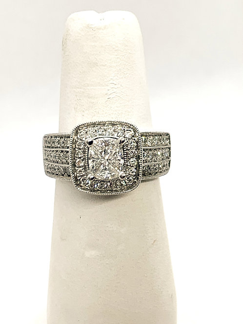 White Gold Illusion mount Diamond Dinner Ring