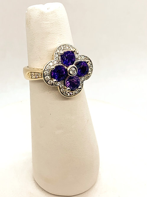Yellow Gold Diamond and Amethyst Ring DR2239