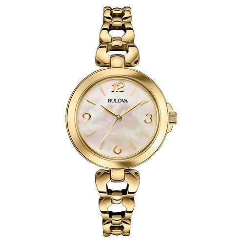 Ladies' Bulova Gold-Tone Watch with Mother-of-Pearl Dial