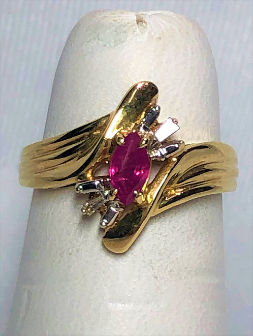 Yellow Gold Ruby & Diamond Statement Ring