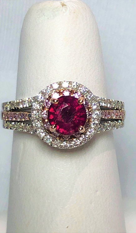 Stunning White Gold Diamond & Ruby Dinner Ring