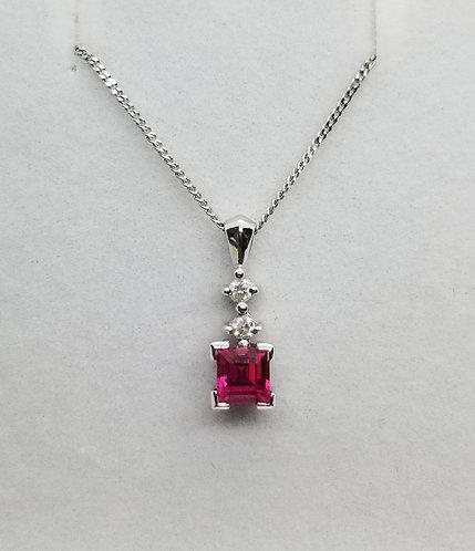 Diamond and Pink Quartz Pendant