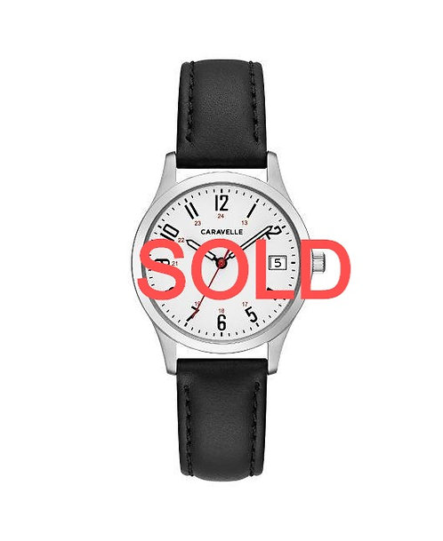 Caravelle Timeless Black Leather WOMEN'S WATCH