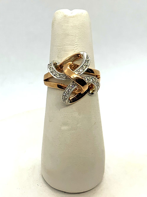 Rose & White Gold Diamond Knot Ring