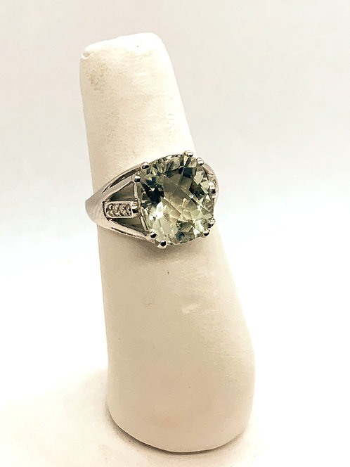 White Gold Green Amethyst & Diamond Ring