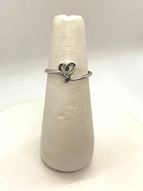 White Gold Heart & Diamond Promise Ring