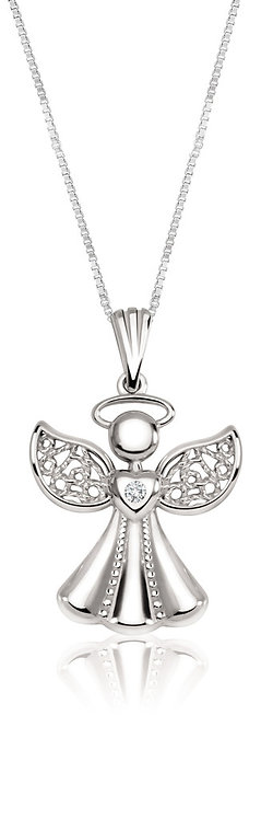 White Gold Angel with Diamond Pendant