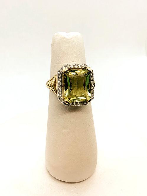 Yellow Gold Olive Quartz & Diamond Halo Ring