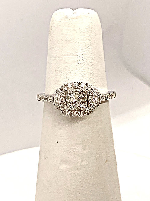 WG Illusion set Diamond Halo Engagement Ring