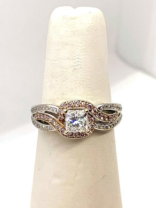 WG Princess Cut Diamond with pink diamond accent Ring