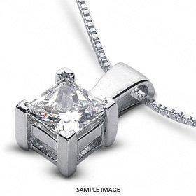 White Gold .10CT Princess Diamond Solitaire Pendant