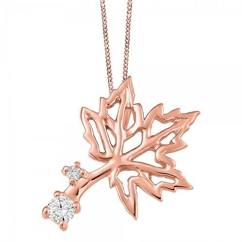 Rose Gold Maple Leaf w Diamonds Pendant