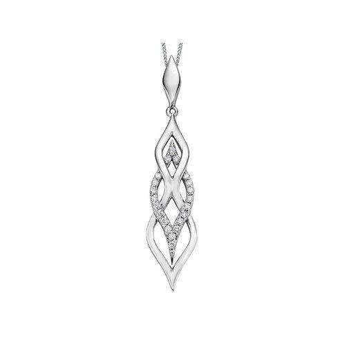 White Gold & Diamond Drop Necklace