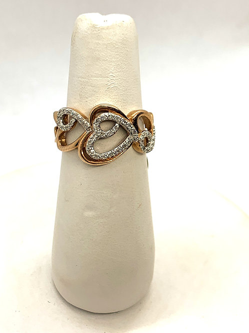 Rose Gold Diamond Hearts Ring