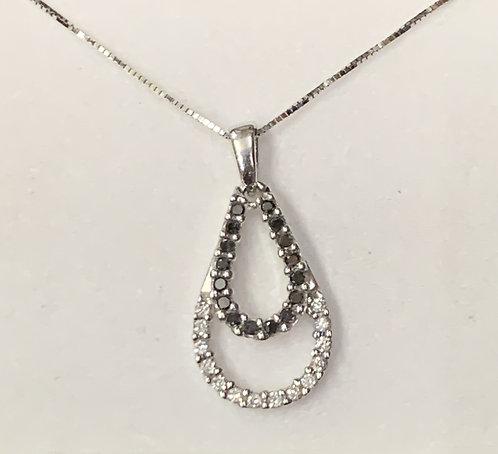White Gold Black & White Diamond Tear Drop Pendant
