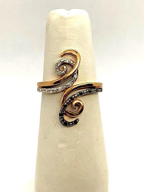 Rose Gold Black & White Diamond Dinner Ring