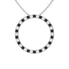 White Gold Black & White Circle of Life Diamond Pendant