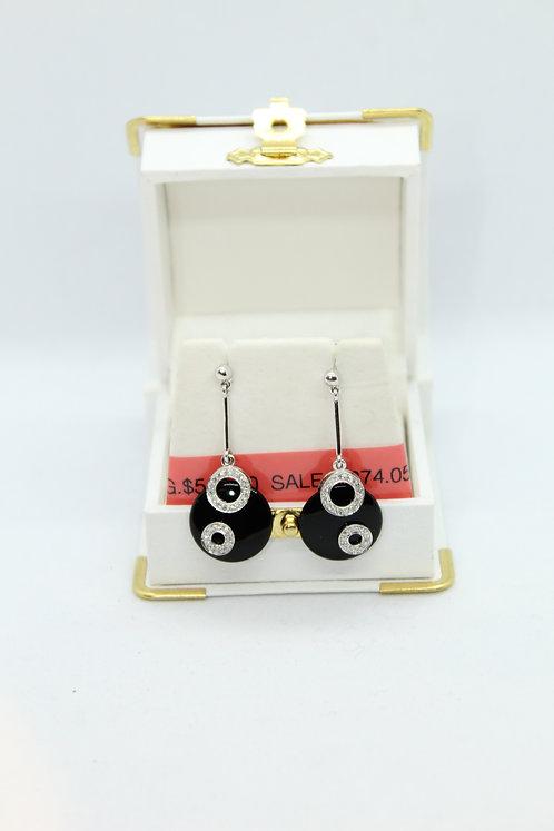 Diamond and Black Onyx Earrings