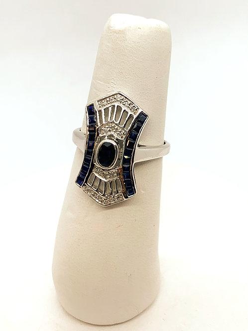 White Gold Sapphire & Diamond Shield Ring DR2901