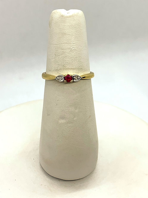 Yellow & White Gold Ruby with Diamonds Ring