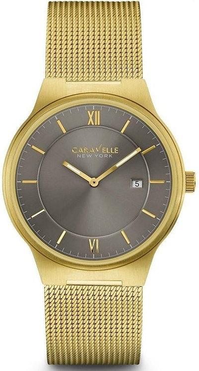 Caravelle New York Gray Dial Gold Tone Stainless Steel Quartz Men's Watch