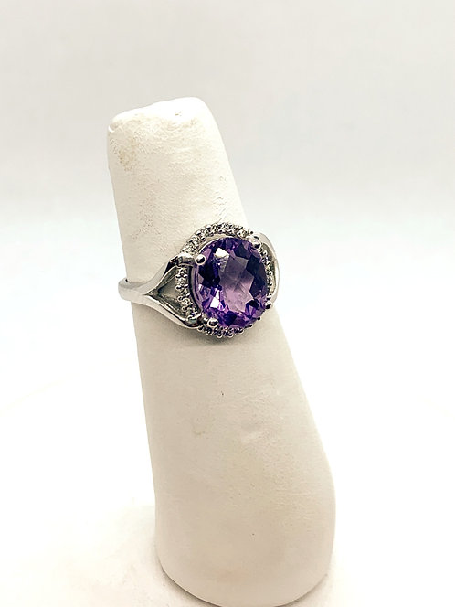 White Gold Amethyst & Diamond Halo Ring