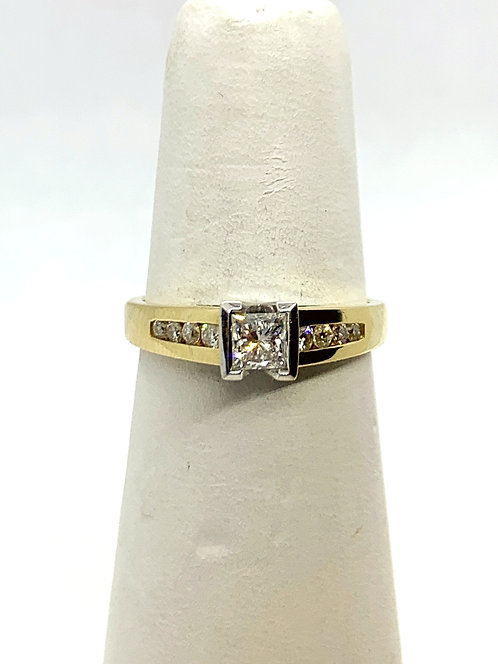 YGWG Princess cut Diamond with diamonds accented band Ring