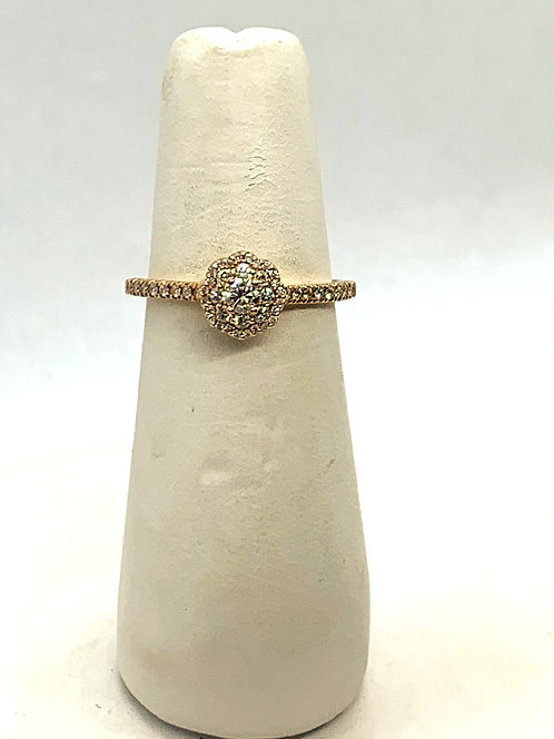 Rose Gold Maple Leaf Diamond Halo Ring
