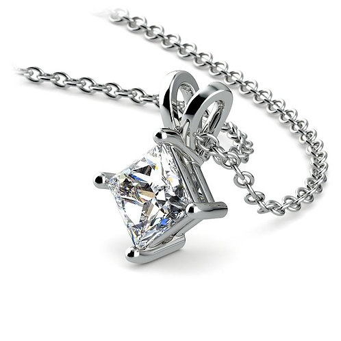 White Gold Square mount .10CT Diamond Solitaire Pendant