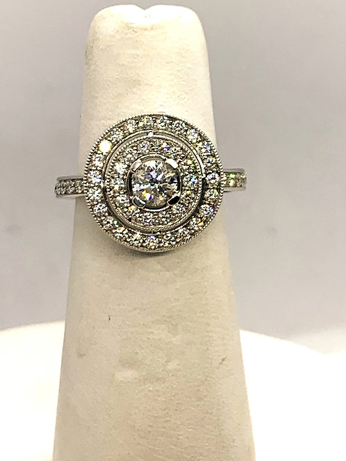 White Gold RBC Diamond with Double Halo Ring