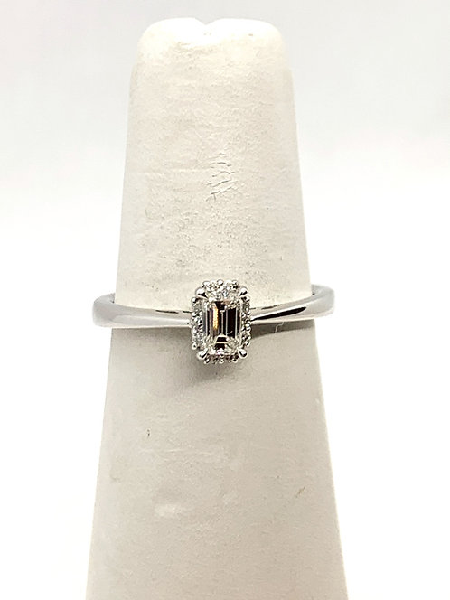 WG Emerald cut Diamond with halo Ring DR3144