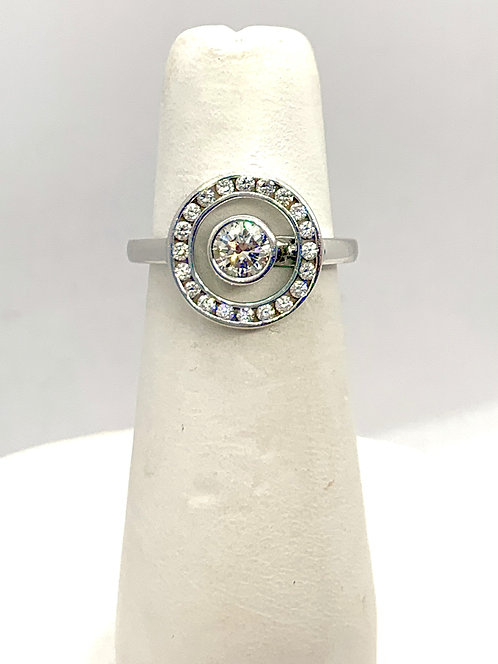 White Gold RBC Diamond with Halo Ring