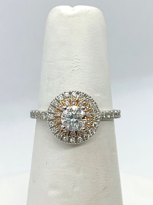 WG & RG RBC Diamond with double Halo Engagement Ring