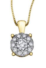 Starburst Yellow Gold Cluster .50CT TW Diamond Pendant