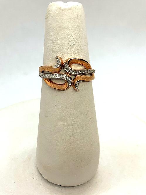 Rose & White Gold Diamond Dinner Ring