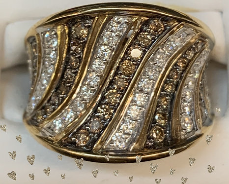 Yellow Gold Colored Diamonds Dinner Ring