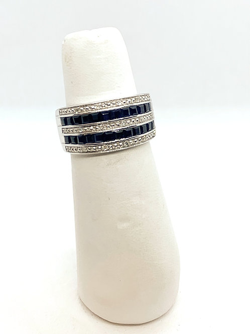 White Gold Sapphire & Diamond Band DR2976