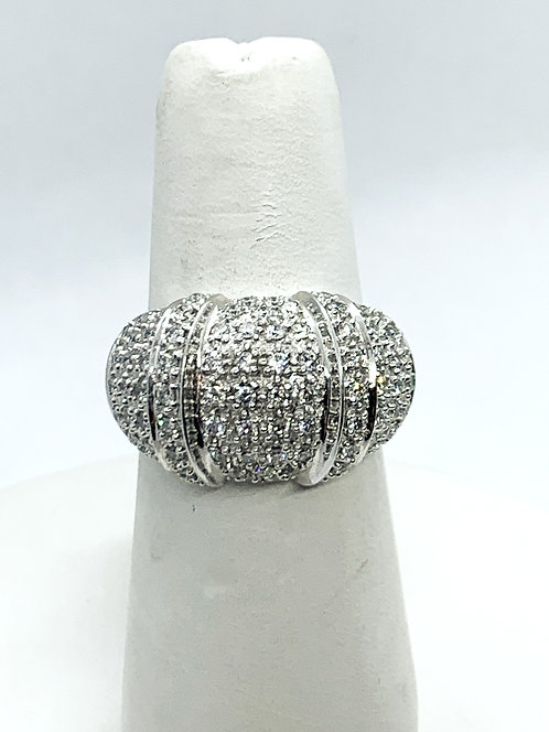 White Gold Diamond Pave Bauble Dinner Ring