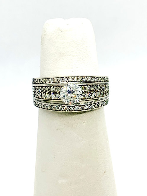 White Gold Solitaire Ghost Mount Dinner Ring