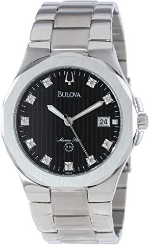 BULOVA Marine Star Men's Watch Black Dial w/ 10 Diamonds SS