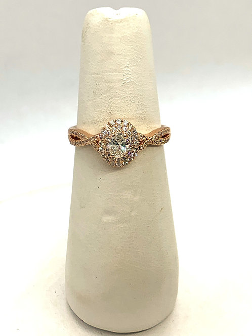 Rose Gold Maple Leaf Oval Diamond Halo Ring