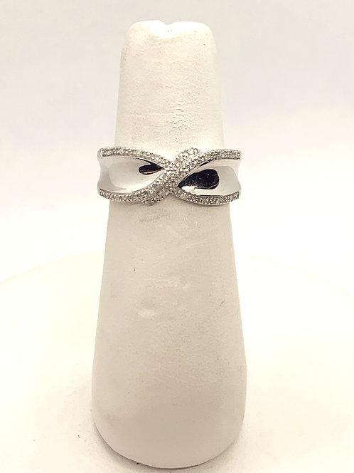 White Gold Diamond Cross-Over Dinner Ring
