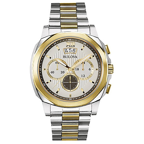 Men's Bulova Two-Tone Chronograph Watch with Grey Dial
