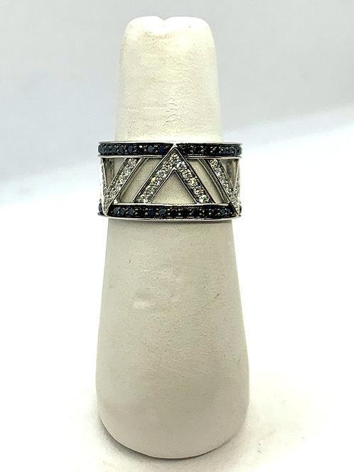 White Gold Black & White Diamond Dinner Ring