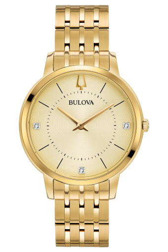 Bulova Classic Gold Champaign Dial Diamond Watch