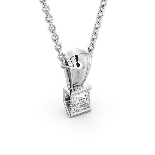 White Gold Tension set .25CT Canadian Diamond Solitaire Pendant