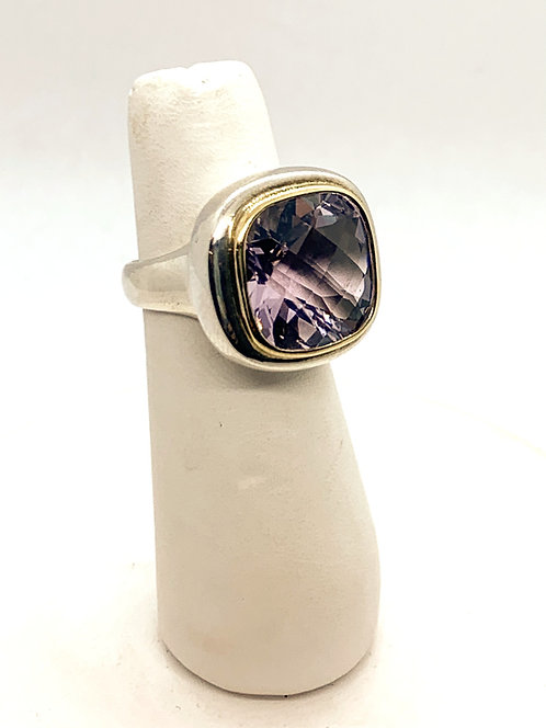 Silver & Yellow Gold Amethyst Ring