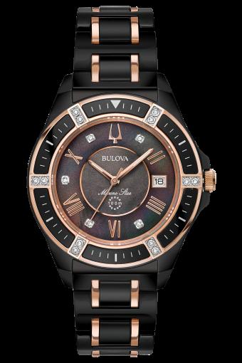 Bulova Women's Marine Star Black IP Ceramic and Diamond Bracelet Watch