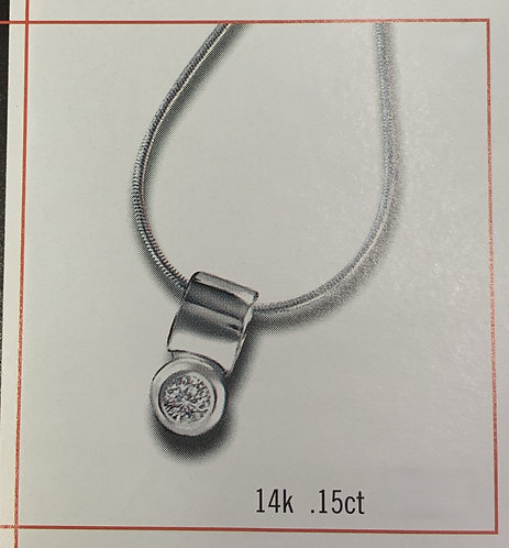 White Gold Diamond and hoop design Pendant